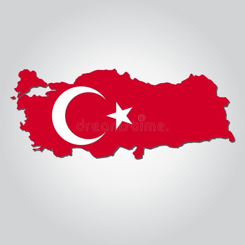 De kaartvlag van Turkije vector illustratie