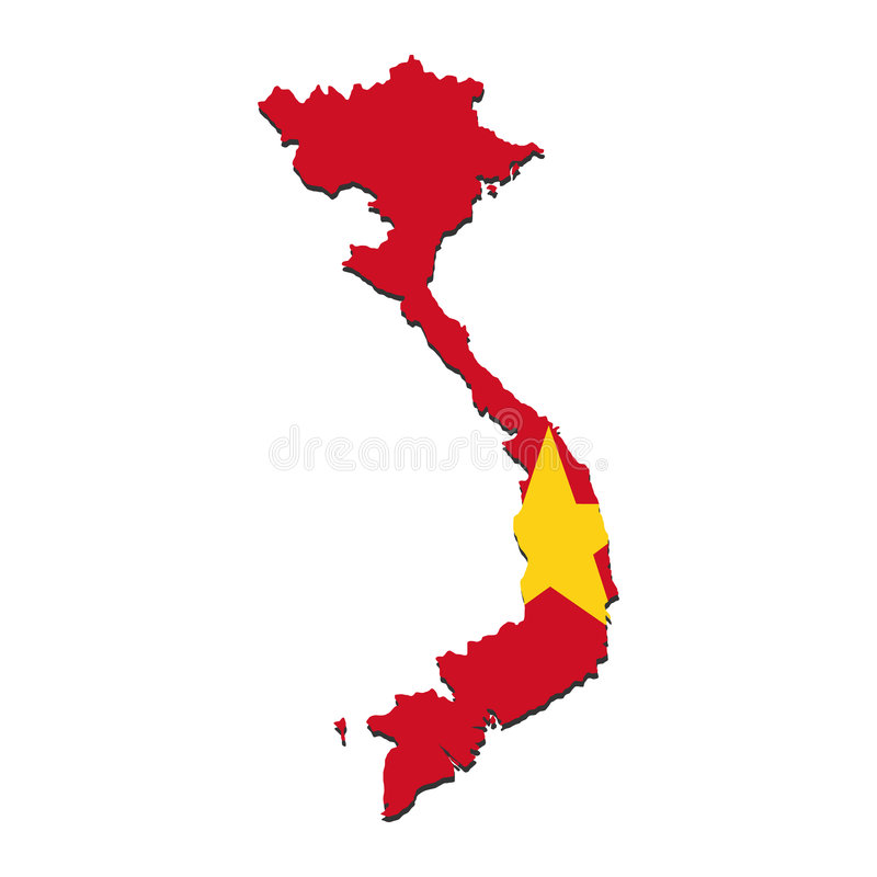 De kaartvlag van Vietnam royalty-vrije illustratie