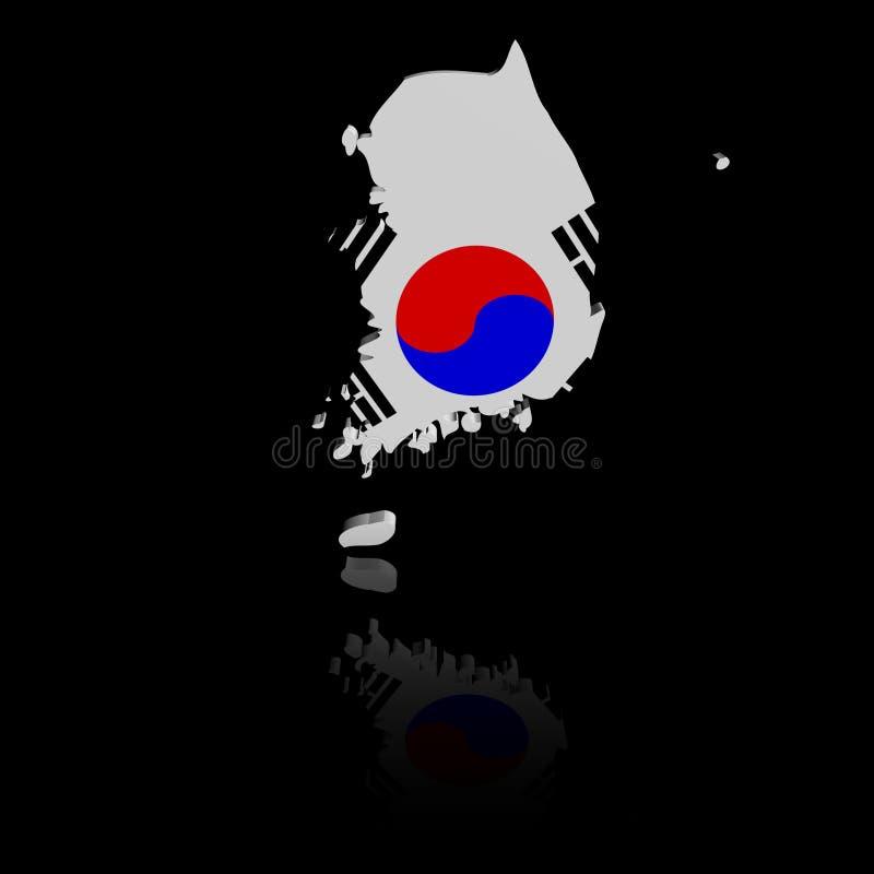 De kaartvlag van Zuid-Korea met bezinningsillustratie vector illustratie