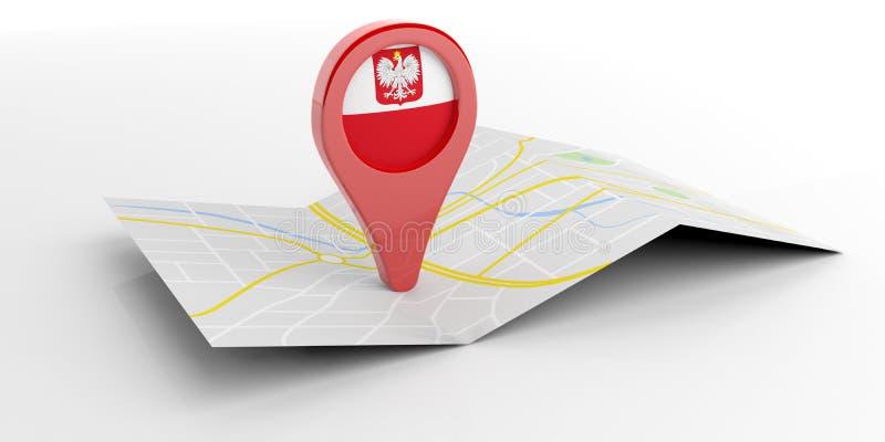 De kaartwijzer van Polen op witte achtergrond 3D Illustratie vector illustratie