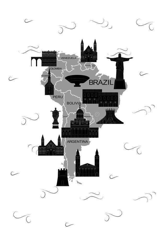 De kaartzwarte van Latijns Amerika royalty-vrije illustratie