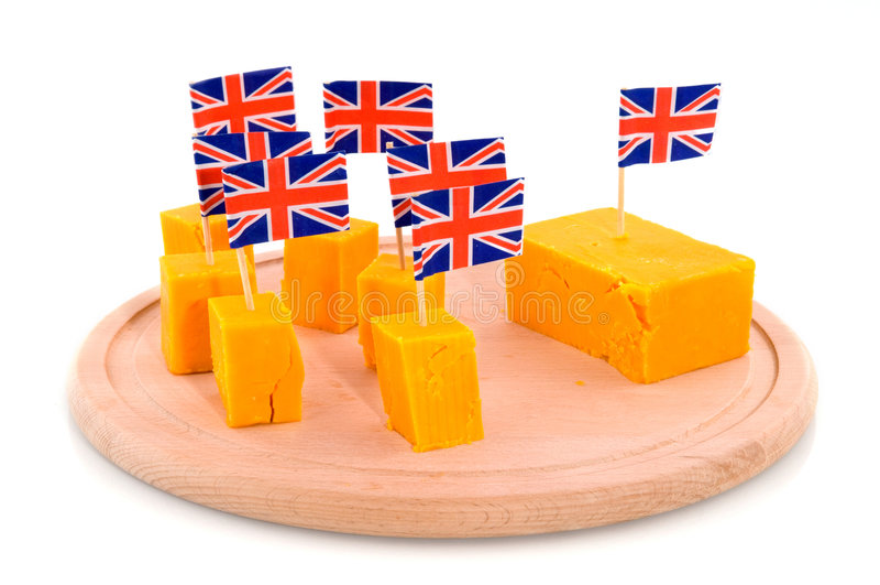 De kaas van de Cheddar van kubussen royalty-vrije stock afbeeldingen