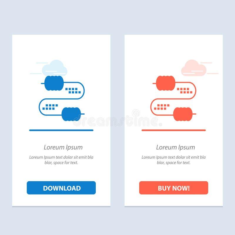 De kabel, de Draad, de Verbinding, de Condensatoren Blauwe en Rode Download en kopen nu de Kaartmalplaatje van Webwidget vector illustratie