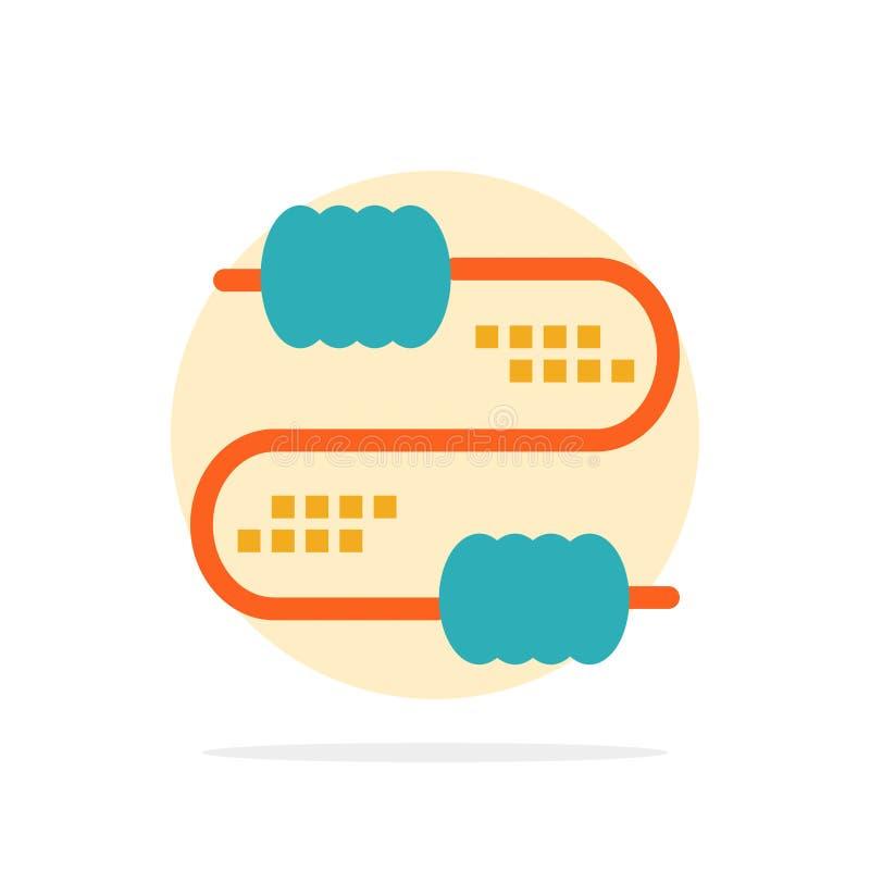 De kabel, Draad, Verbinding, Condensatoren vat Cirkel Achtergrond Vlak kleurenpictogram samen stock illustratie