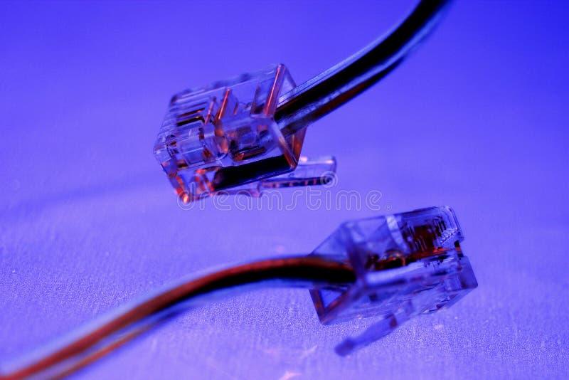 De kabel en de stop van de telefoon stock foto