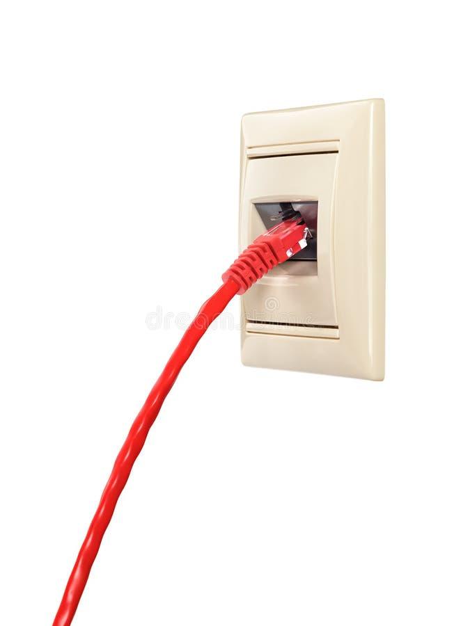 De kabel met schakelaar rj-45 wordt verbonden met een muurafzet stock fotografie