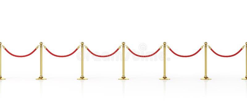 De kabel van de barrière die op wit wordt geïsoleerdt Gouden omheining Luxe, VIP concept Materiaal voor gebeurtenissen 3D Illustr royalty-vrije illustratie