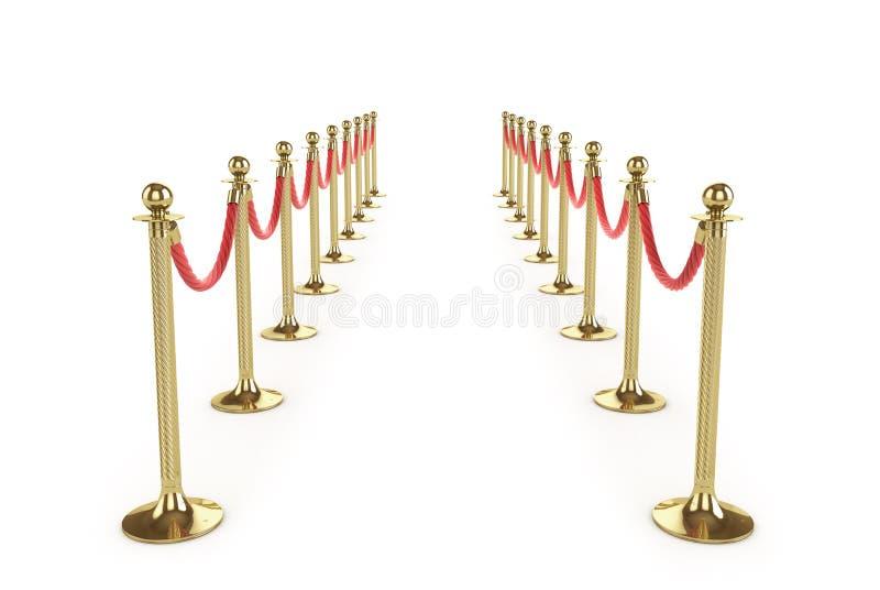 De kabel van de barrière die op wit wordt geïsoleerdt Gouden omheining Luxe, VIP concept Materiaal voor gebeurtenissen 3D Illustr vector illustratie