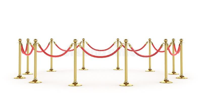 De kabel van de barrière die op wit wordt geïsoleerdt Gouden omheining Luxe, VIP concept Materiaal voor gebeurtenissen 3D Illustr stock illustratie
