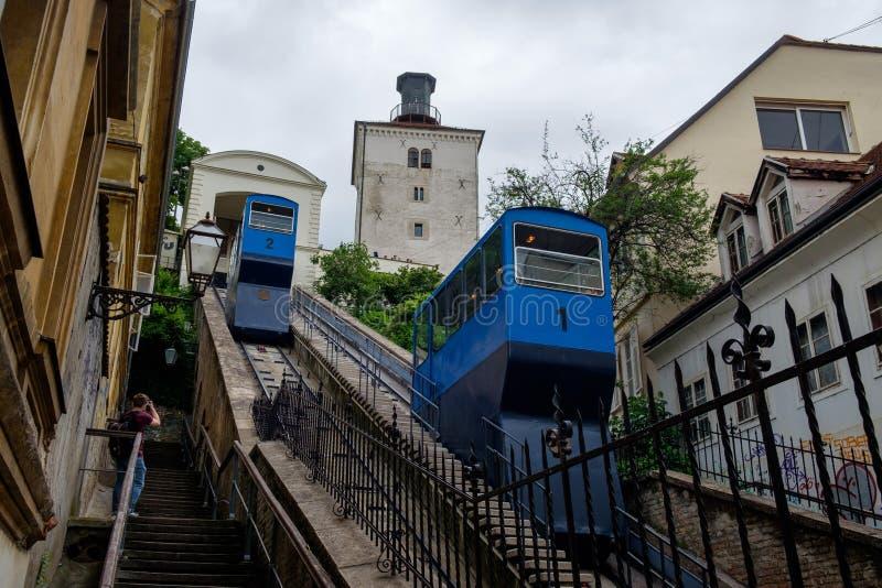 De kabelbaan van Kulalotrscak Het oriëntatiepunt van het de stadscentrum van Zagreb Het oriëntatiepunt van Kroatië, Europa stock fotografie