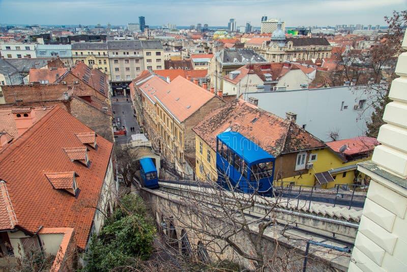 De kabelbaan van Zagreb stock afbeelding