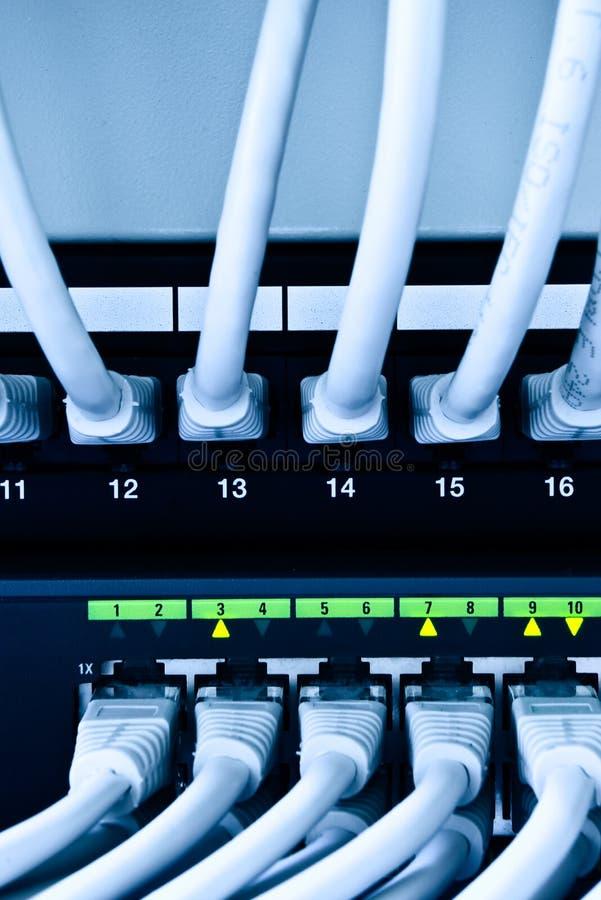 De kabels en de schakelaar van het netwerk stock foto's