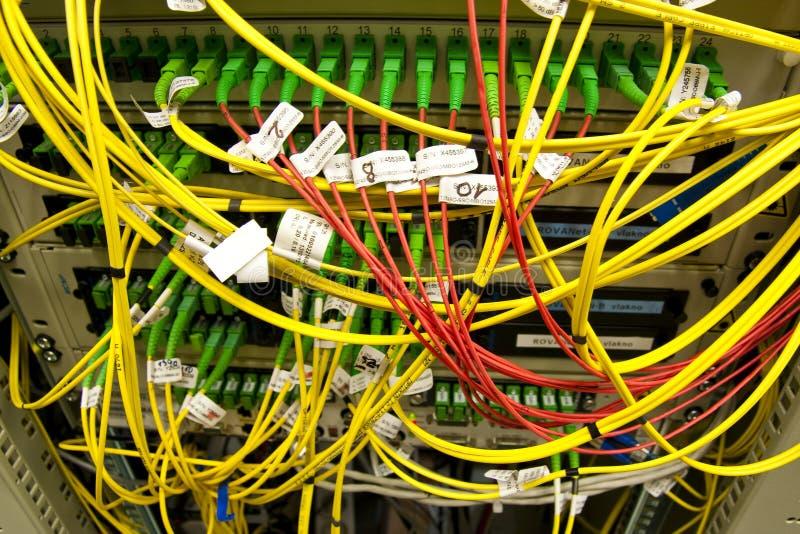 De kabels van de vezel die met servers worden verbonden royalty-vrije stock afbeeldingen
