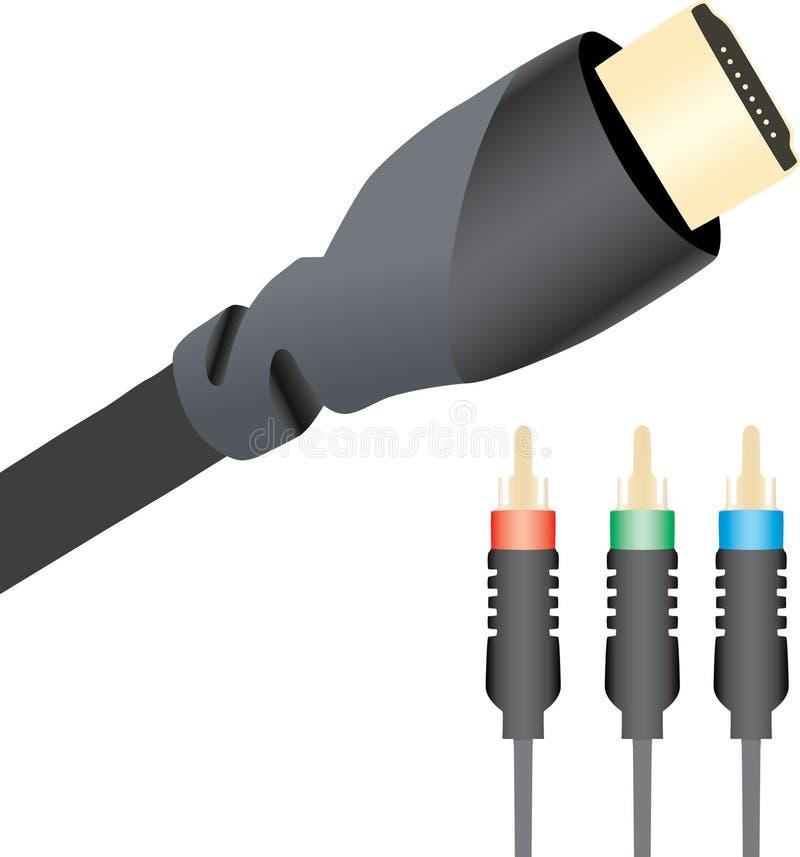 De kabels van HDMI en van de Component royalty-vrije illustratie