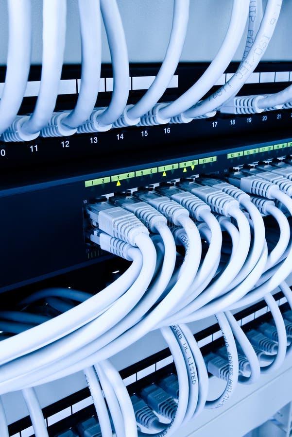 De kabels van het netwerk in gegevenscentrum stock afbeeldingen