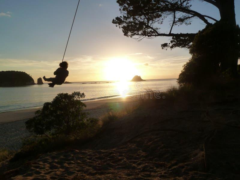De kabelschommeling van de kind` s zonsopgang op het strand royalty-vrije stock foto's
