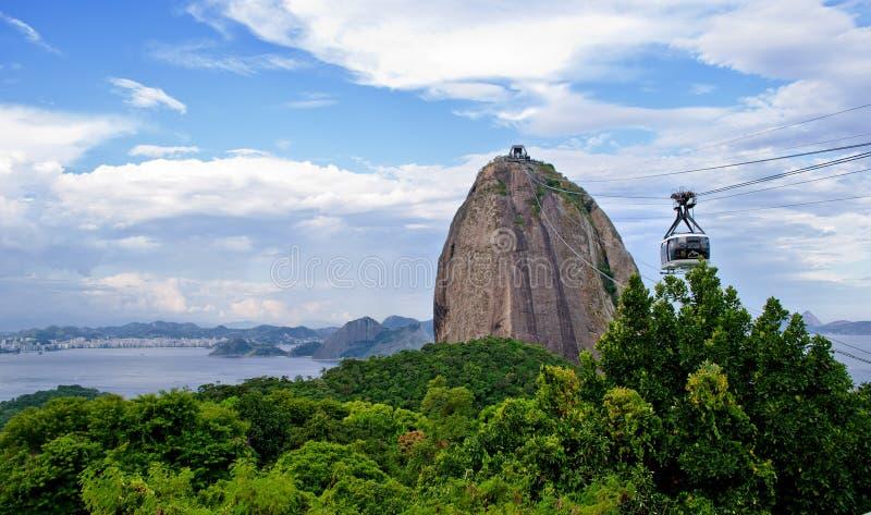 De kabelwagen aan het Brood van de Suiker in Rio de Janeiro royalty-vrije stock foto
