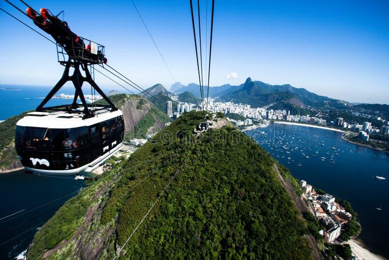 De kabelwagen aan Sugar Loaf in Rio de Janeiro, Brazilië. royalty-vrije stock foto