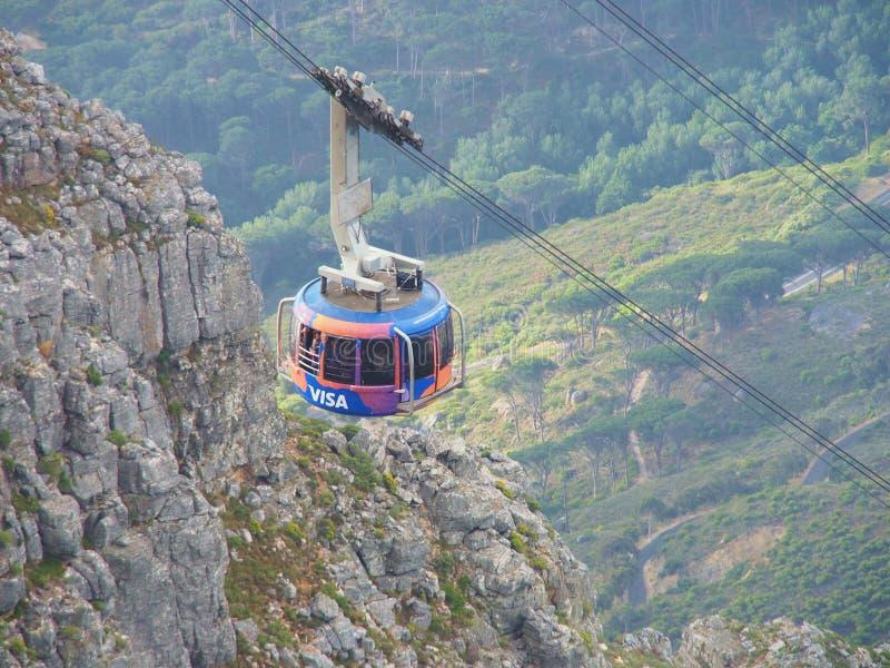 De kabelwagen brengt vele toeristen tot de Lijstberg Nationaal Park royalty-vrije stock fotografie