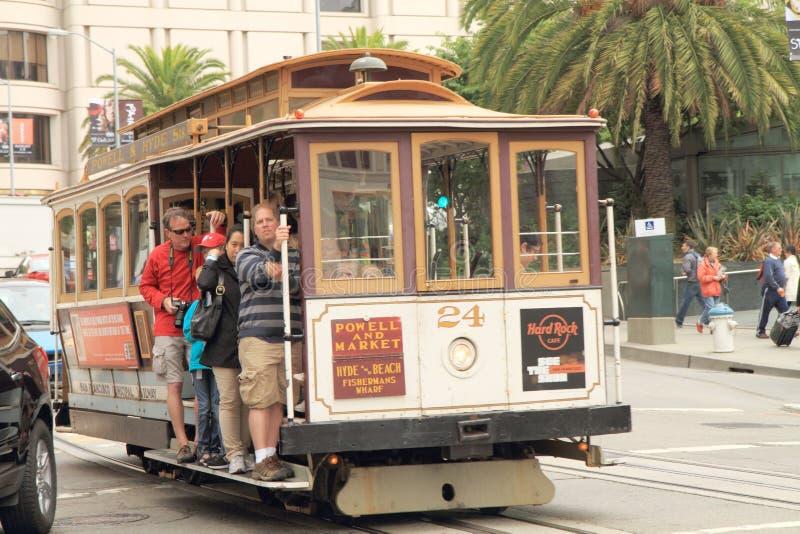 De kabelwagen van San Francisco stock afbeeldingen