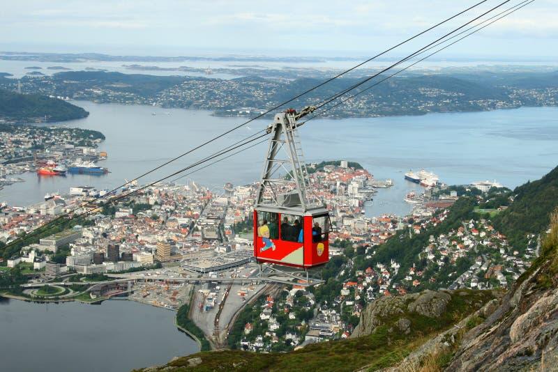 De kabelwagen van Ulriken in Bergen royalty-vrije stock afbeelding