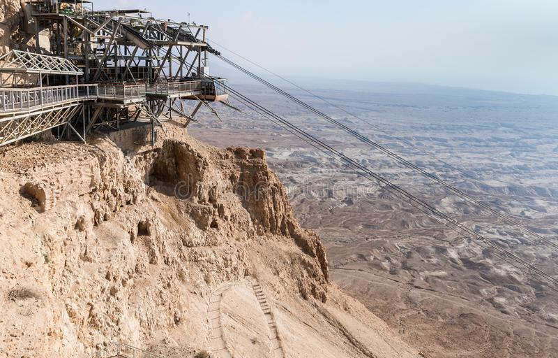 De kabelwagenpost op de heuvel bij de voet ruïnes van Masada-vesting, in 25 door Koning Herod bovenop één van r v.Chr. worden geb stock afbeelding