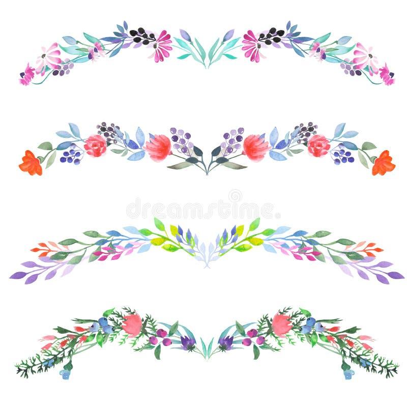 De kadergrens, bloemen decoratief ornament met waterverf bloeit, gaat weg en vertakt zich vector illustratie