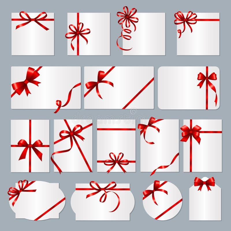 De kaders van de giftkaart De rode banners van de lintengift met plaats voor tekst vectorinzameling stock illustratie