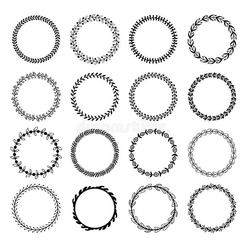 De kaders van het cirkelblad De bloemenbladeren om kader, de cirkels van het bloemornament en bloemen omcirkelden grens geïsoleer royalty-vrije illustratie