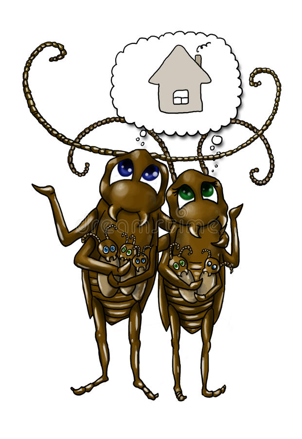 De kakkerlakkenfamilie van het beeldverhaal