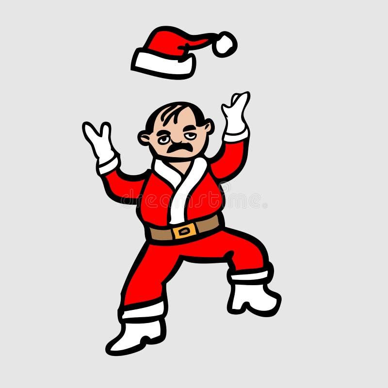 De kale Kerstman werpt hoed royalty-vrije illustratie