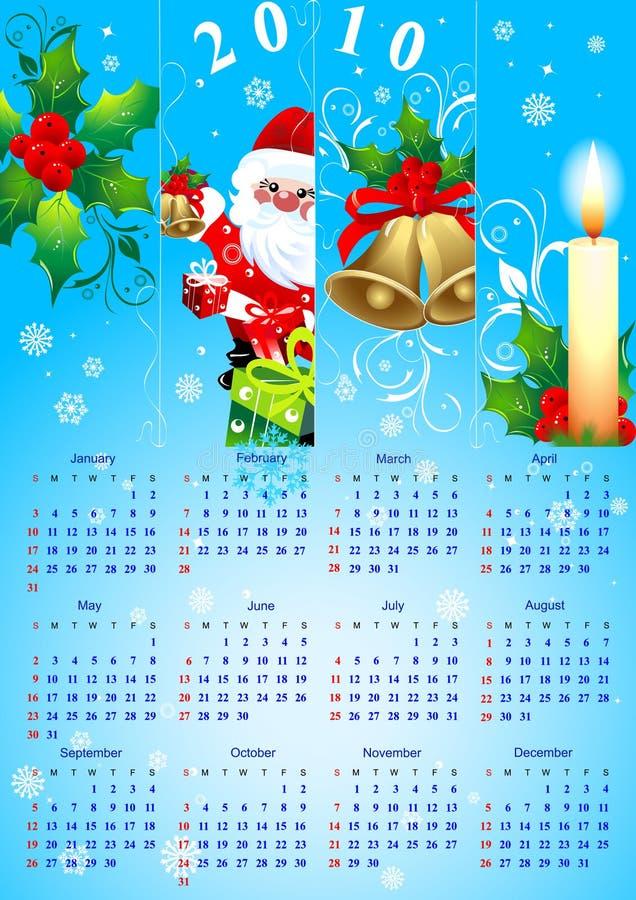 De kalender 2010 van Kerstmis stock illustratie