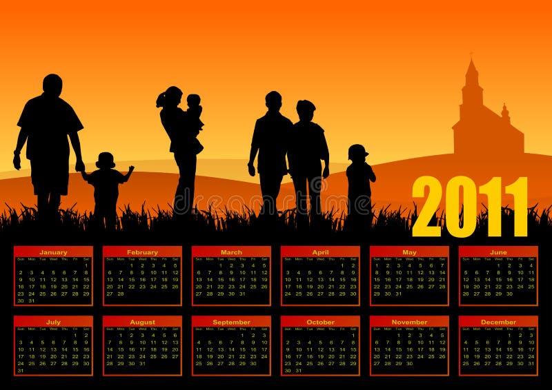 De kalender 2011 van de familie vector illustratie