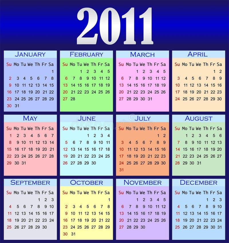 De kalender 2011 van de kleur stock illustratie