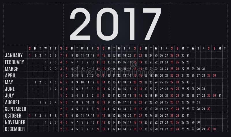 de kalender, de ontwerper, het programma voor bedrijven en het privé-gebruik van 2017 royalty-vrije stock afbeelding