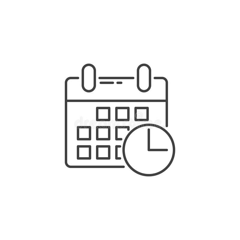 De kalender met Klok bracht Vectorlijnpictogram met elkaar in verband vector illustratie