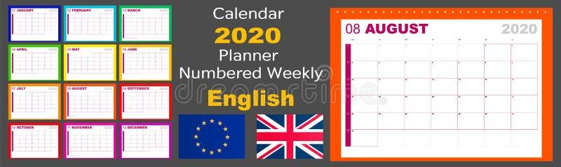 De kalender 2020 planner is wekelijks genummerd De taal is het Engels, is de norm Europees Het weekbegin op Maandag Vector stock illustratie