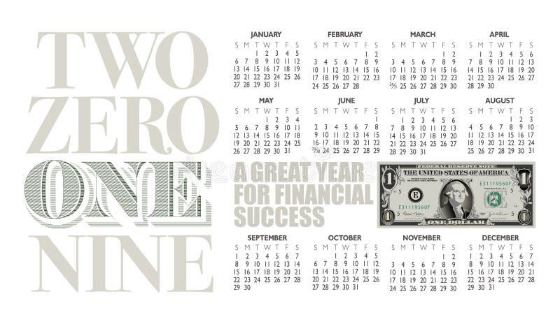2019 de kalender van de één dollarrekening met grafische krantekop vector illustratie