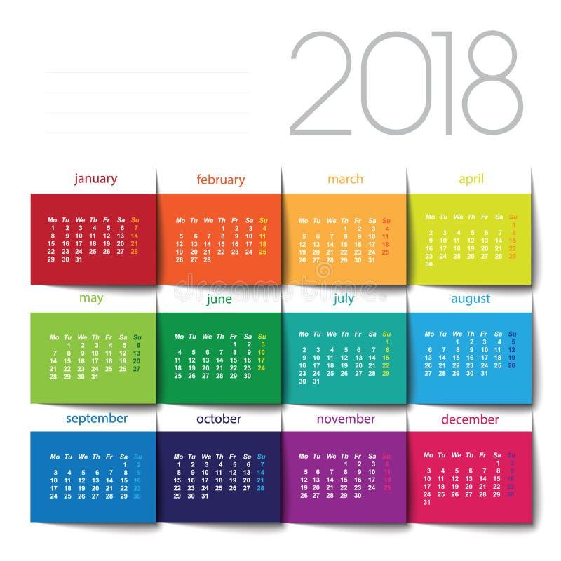 de kalender van 2018 stock illustratie