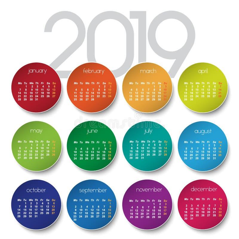 de kalender van 2019 stock illustratie