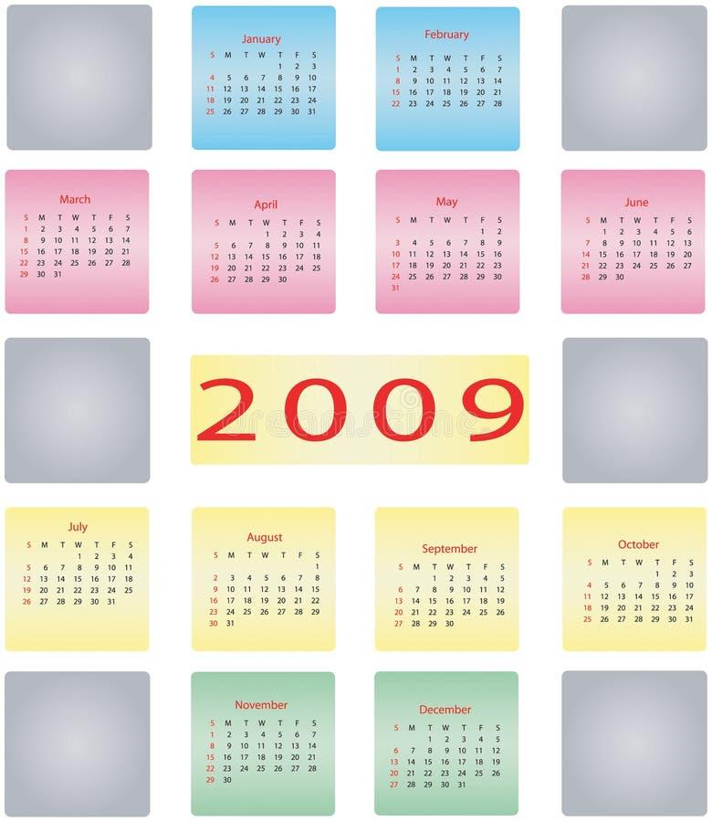 de kalender van 2009 stock illustratie