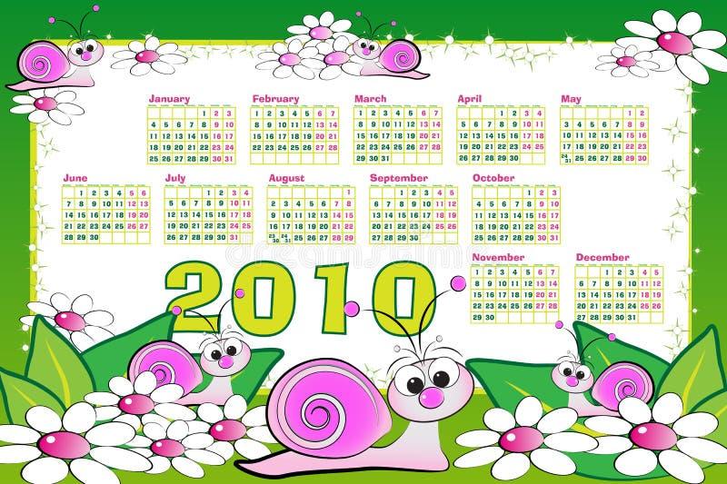 de kalender van 2010 met slakken royalty-vrije illustratie