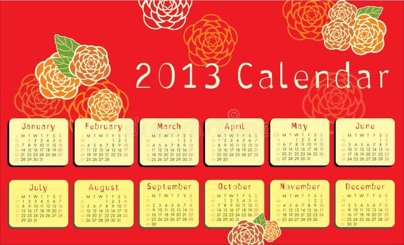 de kalender van 2013 met bloemenornamenten royalty-vrije illustratie