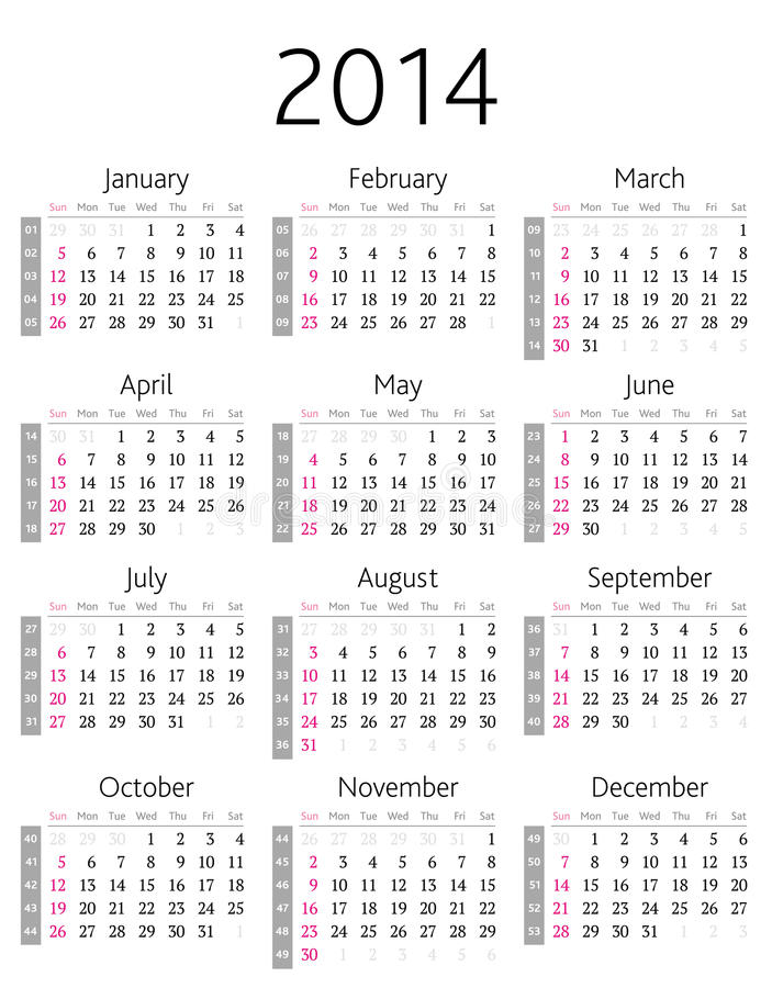 De Kalender Van 2014 Stock Afbeeldingen