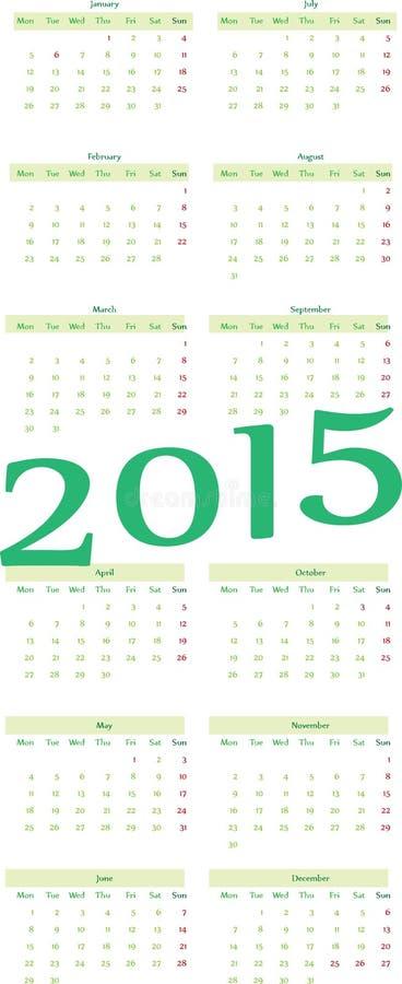de kalender van 2015 royalty-vrije illustratie