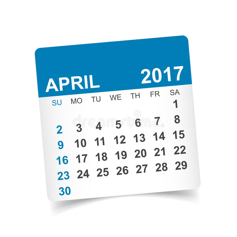 De kalender van april 2017 royalty-vrije illustratie