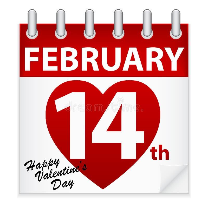 De Kalender van de Dag van de valentijnskaart royalty-vrije illustratie