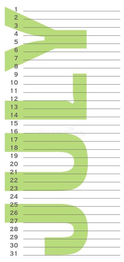De kalender van de verjaardag royalty-vrije illustratie