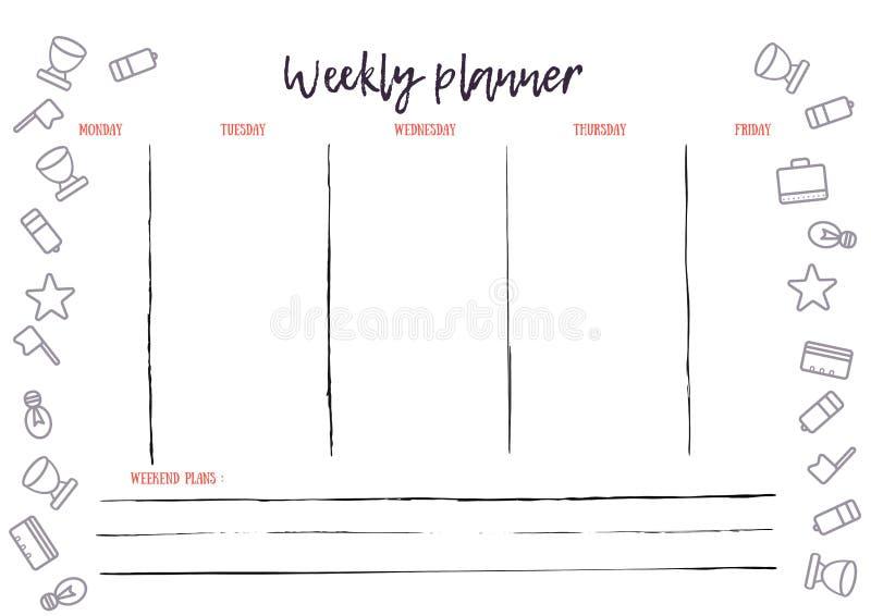 De kalender van de weekontwerper voor zaken en privé-gebruik A4 druk klaar document met pictogrammen Weekplan stock illustratie
