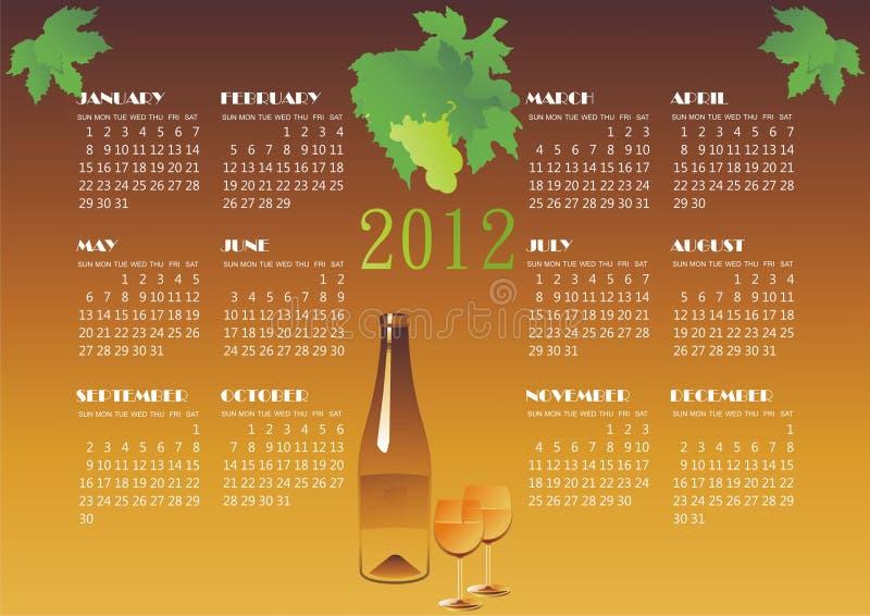 De kalender van de wijn royalty-vrije illustratie